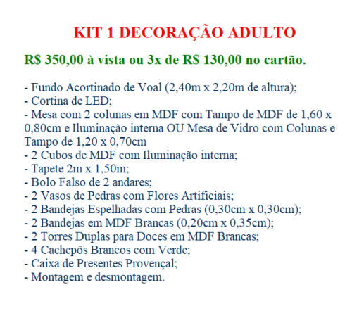 Kit 1 Adulto
